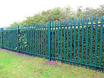 2000mm high green powder coated steel palisade fencing with triple pointed tops